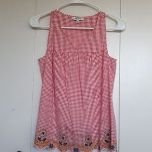 Madewell gingham embroidered top